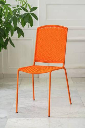 Chaise CALAO tissée orange